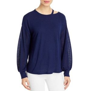 Status By Chenault Women's Mixed Texture Long Sleeve Boxy Top Size Small